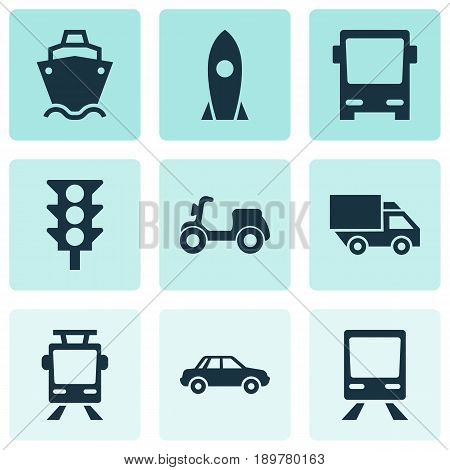 Shipment Icons Set. Collection Of Railway, Streetcar, Omnibus And Other Elements. Also Includes Symbols Such As Wagon, Automobile, Camion.