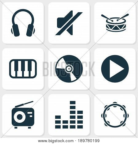 Audio Icons Set. Collection Of Earphone, Timbrel, Tuner And Other Elements. Also Includes Symbols Such As Drum, Cd, Tambourine.