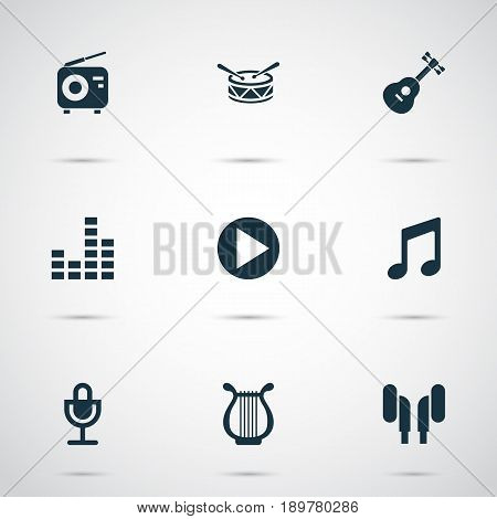Multimedia Icons Set. Collection Of Lyre, Music, Barrel And Other Elements. Also Includes Symbols Such As Note, Button, Fm.