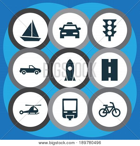 Shipment Icons Set. Collection Of Railroad, Bicycle, Stoplight And Other Elements. Also Includes Symbols Such As Airplane, Highway, Taxi.