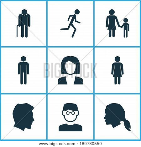 Person Icons Set. Collection Of Family, Grandpa, Gentlewoman Head Elements. Also Includes Symbols Such As Smart, Head, Jogging.