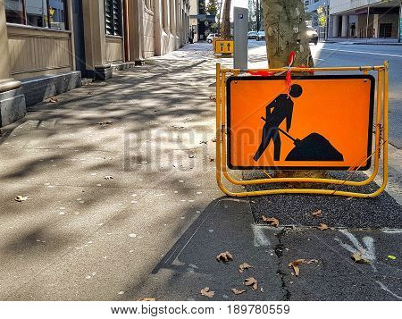 This men at work sign for safety on roadways