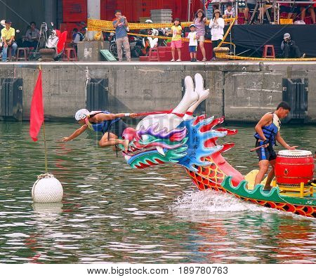 Reaching The Finishing Line In The Dragon Boat Races