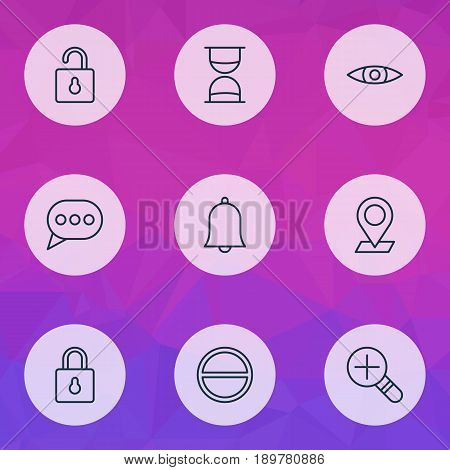 Network Icons Set. Collection Of Message Bubble, Unlock, Refuse And Other Elements. Also Includes Symbols Such As Zoom, Sand, Safeguard.