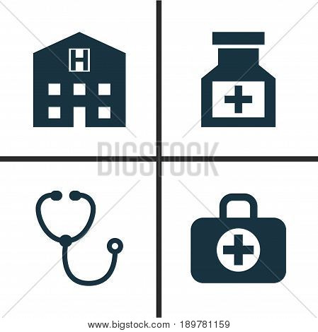 Drug Icons Set. Collection Of Device, Drug, Retreat And Other Elements. Also Includes Symbols Such As Aid, Pharmaceutical, Hospital.