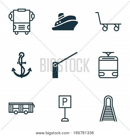 Transportation Icons Set. Collection Of Railway, Cargo Cart, Vehicle And Other Elements. Also Includes Symbols Such As Anchor, Roadsign, Railroad.