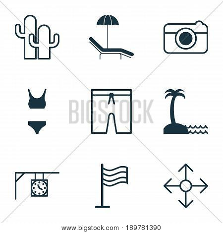 Travel Icons Set. Collection Of Direction Arrows, Swimming Clothes, Ornament Watch And Other Elements. Also Includes Symbols Such As Clothes, Cactus, Direction.