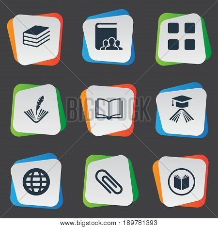 Vector Illustration Set Of Simple Reading Icons. Elements Pile, Planet, Stationary And Other Synonyms Graduation, Customers And Academic.