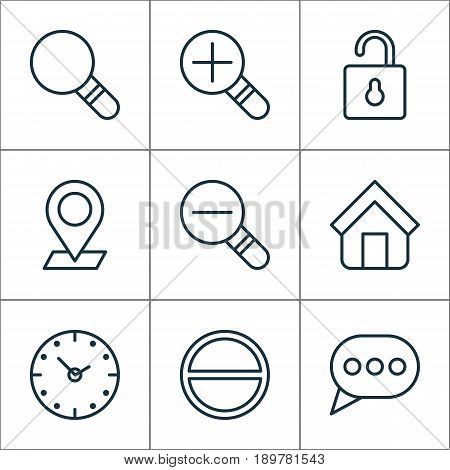 Internet Icons Set. Collection Of Pinpoint, Message Bubble, Increase Loup And Other Elements. Also Includes Symbols Such As Ban, Glass, Zoom.