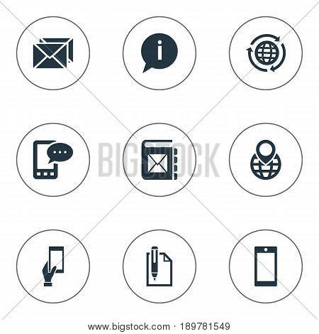 Vector Illustration Set Of Simple Communication Icons. Elements Cellular Appliance, Correspondence, Address Book And Other Synonyms Postal, Sheet And Touch.