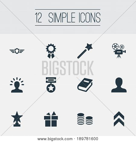 Vector Illustration Set Of Simple Prize Icons. Elements Victory, Miracle, Present And Other Synonyms Textbook, Magic And User.