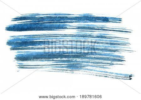 Blue ink brush strokes isolated on the white background