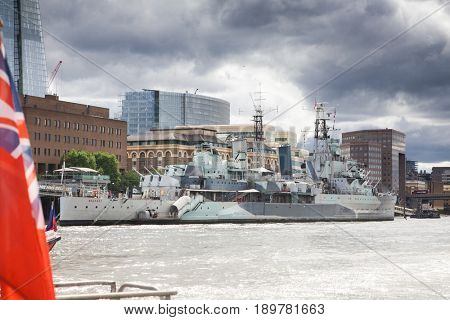 LONDON/UK - MAY 20 : The HMS Belfast moored on the River Thames in London