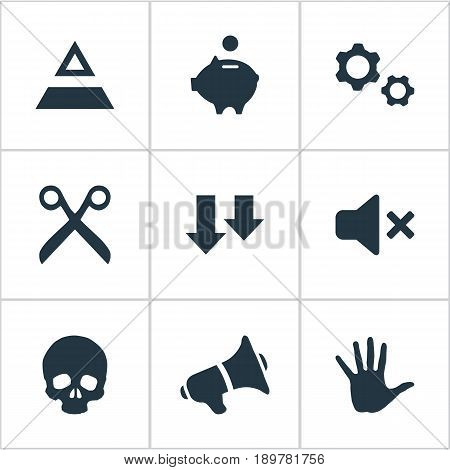 Vector Illustration Set Of Simple Impasse Icons. Elements Salary Cutting, Silence, Descending And Other Synonyms Arm, Descending And Box.