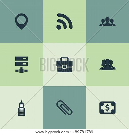 Vector Illustration Set Of Simple Partnership Icons. Elements Building, Briefcase, Signal And Other Synonyms Wireless, Hardware And Fix.