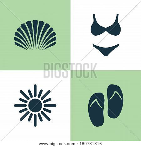 Season Icons Set. Collection Of Conch, Sunny, Beach Sandals Elements. Also Includes Symbols Such As Suit, Bikini, Sandals.