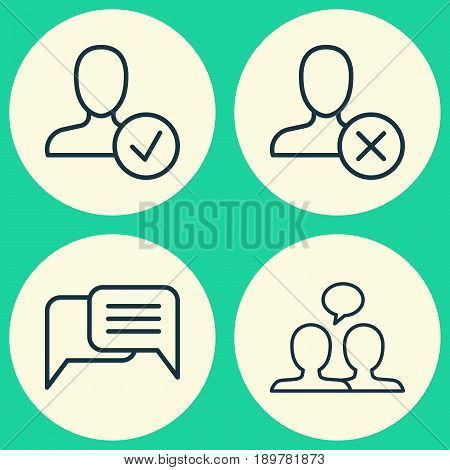 Network Icons Set. Collection Of Ban Person, Conversation, Online Chatting And Other Elements. Also Includes Symbols Such As Instant, Person, Human.
