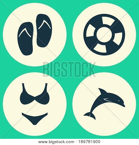 Season Icons Set. Collection Of Bikini, Beach Sandals , Mammal Elements. Also Includes Symbols Such As Flop, Dolphin, Boat.