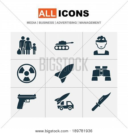 Battle Icons Set. Collection Of Glass, Ordnance, Missile And Other Elements. Also Includes Symbols Such As Oficer, Fire, Binoculars.