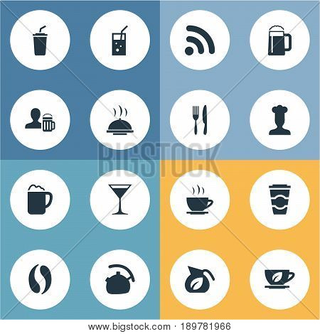 Vector Illustration Set Of Simple Restaurant Icons. Elements Lemonade, Fork With Knife, Pub And Other Synonyms Fizzy, Coffee And Internet.