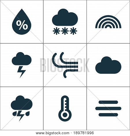 Air Icons Set. Collection Of Moisture, Temperature, Lightning And Other Elements. Also Includes Symbols Such As Wet, Lightning, Breeze.