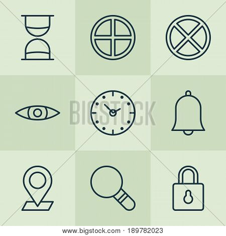 Icons Set. Collection Of Hourglass, Alert, Research And Other Elements. Also Includes Symbols Such As Sand, Glass, Padlock.