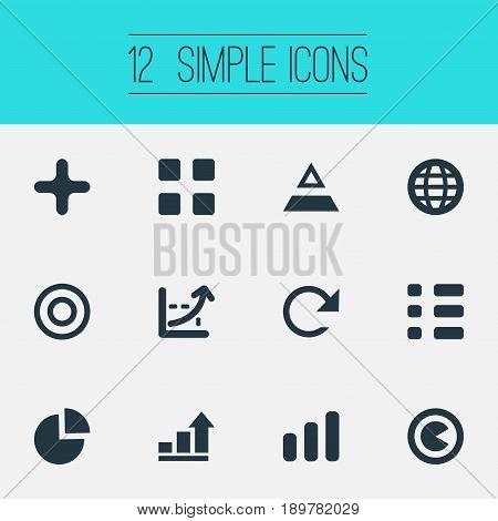 Vector Illustration Set Of Simple Diagram Icons. Elements World, Coordinate Axis, Triangle And Other Synonyms Growth, Dartboard And Detachment.