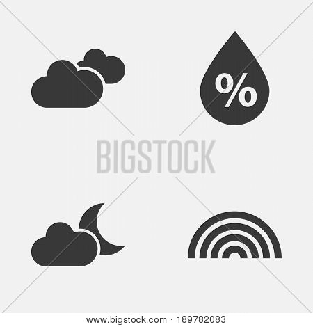 Air Icons Set. Collection Of Colors, Weather, Moonlight And Other Elements. Also Includes Symbols Such As Rainy, Crescent, Clouds.