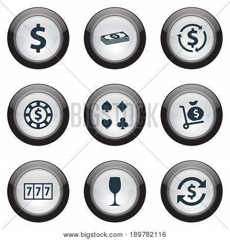 Vector Illustration Set Of Simple Gambling Icons. Elements Slot Machine, Card Suits, Exchange And Other Synonyms Dollar, Cards And Bet.