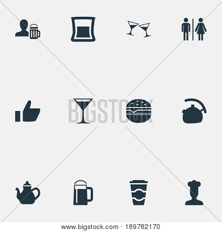 Vector Illustration Set Of Simple Cafe Icons. Elements Teapot, Favorite, Sandwich Synonyms Like, Tea And Glass.