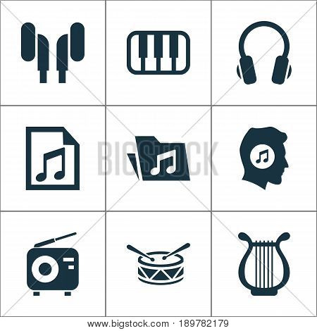 Music Icons Set. Collection Of Meloman, Tuner, Earphone And Other Elements. Also Includes Symbols Such As Note, Music, Drum.