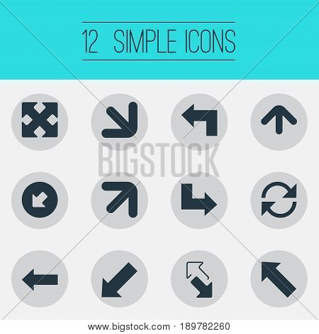 Vector Illustration Set Of Simple Cursor Icons. Elements Crossed Arrows, Pointer, Declining And Other Synonyms Upper, Falling And Down.