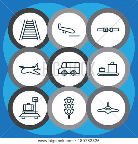 Transport Icons Set. Collection Of Lorry, Baggage, Railroad And Other Elements. Also Includes Symbols Such As Transport, Travel, Train.