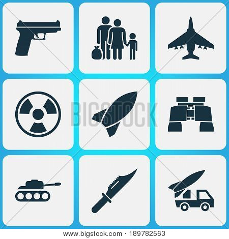 Combat Icons Set. Collection Of Dangerous, Missile, Ordnance And Other Elements. Also Includes Symbols Such As Scalper, Binoculars, Fighter.