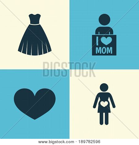 Mothers Day Icon Design Concept. Set Of 4 Such Elements As Evening Gown, I Love Mom And Soul. Beautiful Symbols For I, Mom And Pregnancy.