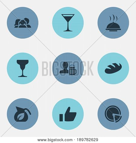 Vector Illustration Set Of Simple Beverage Icons. Elements Bread, Beerhouse, Food Tray And Other Synonyms Champagne, Lemonade And Family.