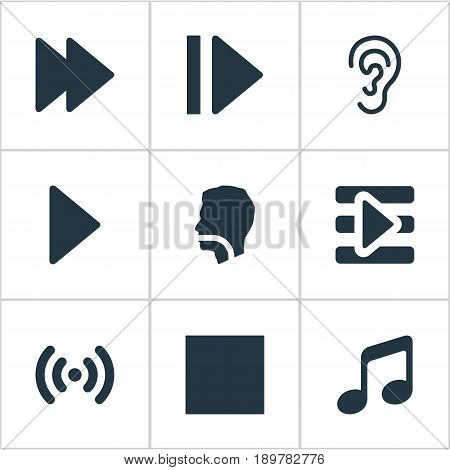 Vector Illustration Set Of Simple Volume Icons. Elements Audition, Next, Podcast And Other Synonyms Next, Button And Movie.
