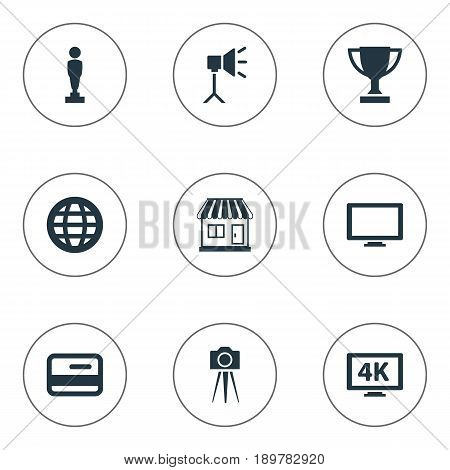 Vector Illustration Set Of Simple Movie Icons. Elements Studio Ligtning, Oscar, Screen And Other Synonyms Champion, Tripod And Prize.