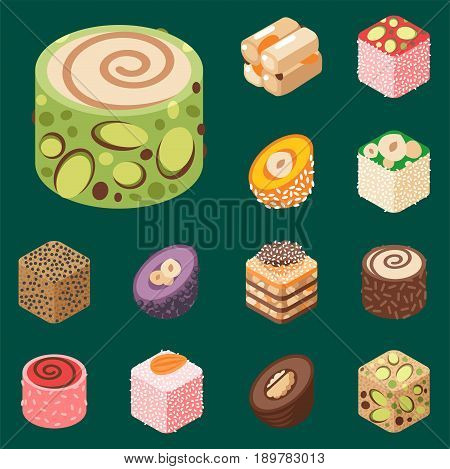 Collection of east delicious dessert isolated sweets food confectionery homemade assortment vector illustration. Chocolate cake tasty bakery homemade decoration turkish assortment.