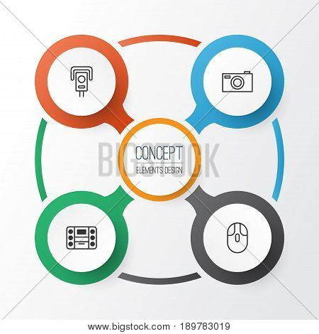 Icons Set. Collection Of Boombox, Digital Camera, Security Camera And Other Elements. Also Includes Symbols Such As Camera, Device, Music.