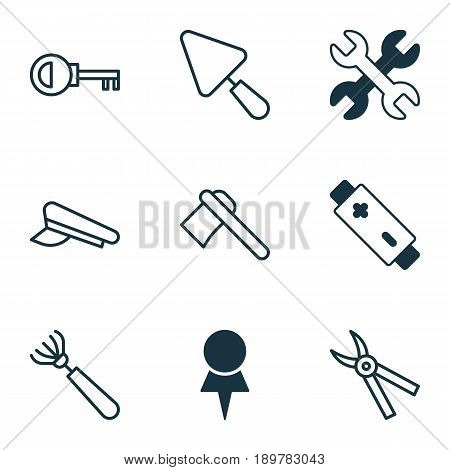 Equipment Icons Set. Collection Of Putty, Pliers, Tomahawk And Other Elements. Also Includes Symbols Such As Key, Putty, Spanner.