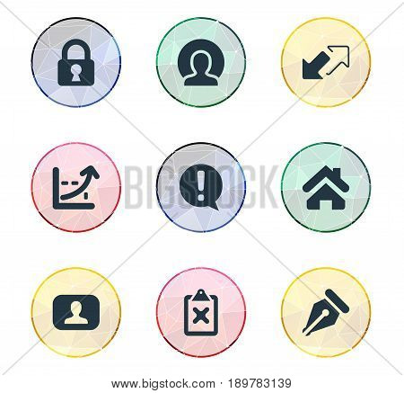 Vector Illustration Set Of Simple Job Icons. Elements Home, Representative, Increase And Other Synonyms Two, Caution And Nib.