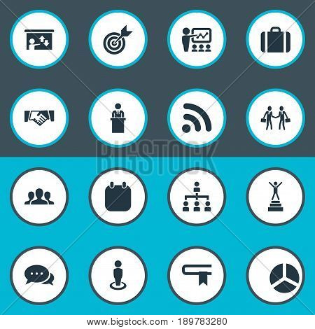 Vector Illustration Set Of Simple Solution Icons. Elements Worker, Free Internet, Training And Other Synonyms Target, Orator And Employee.