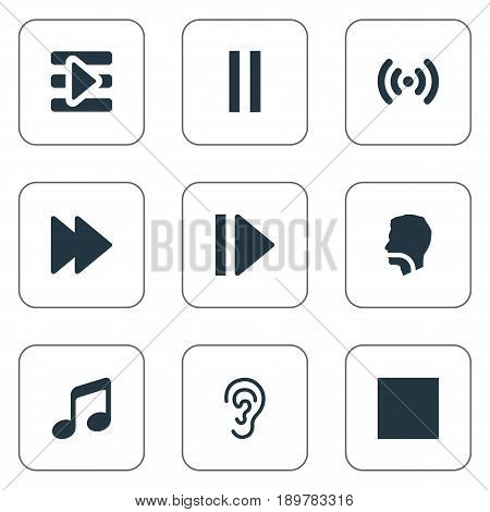 Vector Illustration Set Of Simple Sound Icons. Elements Wave, Audition, Stop And Other Synonyms Waves, Recorder And Next.