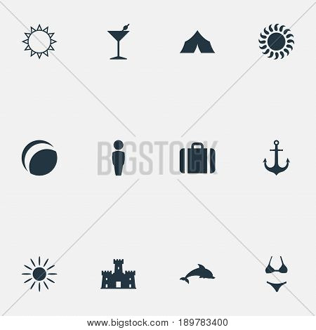 Vector Illustration Set Of Simple Seaside Icons. Elements Sunrise, Summer Fun, Shelter And Other Synonyms Ship, Hot And Sunrise.