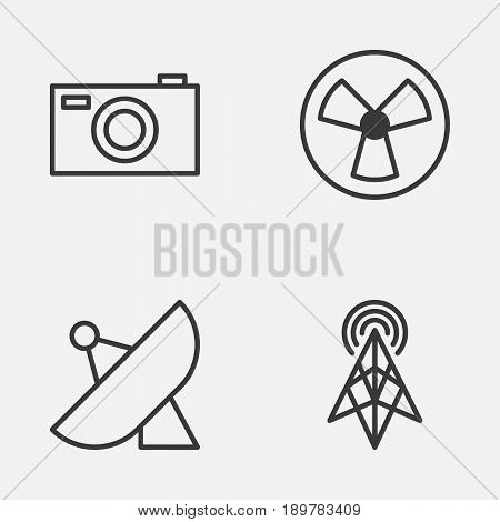 Gadget Icons Set. Collection Of Digital Camera, Antenna, Ventilator And Other Elements. Also Includes Symbols Such As Sputnik, Ventilator, Photo.