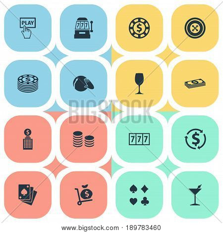 Vector Illustration Set Of Simple Gambling Icons. Elements Club House, Vinyl Music, Addiction And Other Synonyms Wheel, Club And Dollar.