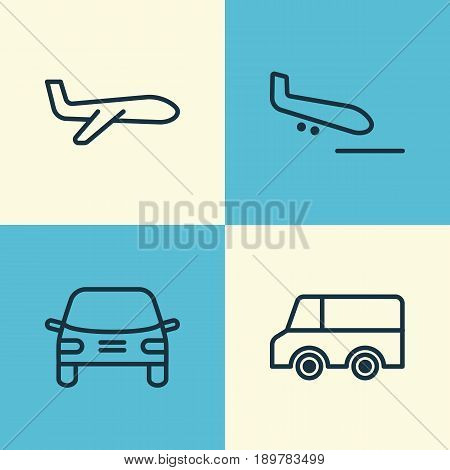Delivery Icons Set. Collection Of Air Transport, Automobile, Lorry And Other Elements. Also Includes Symbols Such As Cargo, Lorry, Landing.