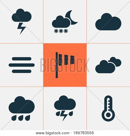 Weather Icons Set. Collection Of Rainy, Weather, Cloudy And Other Elements. Also Includes Symbols Such As Light, Night, Flag.