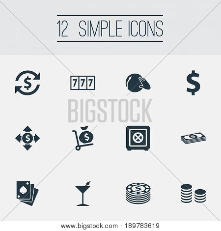 Vector Illustration Set Of Simple Poker Icons. Elements Bank, Money Sac, Poker And Other Synonyms Protection, Alcohol And Game.